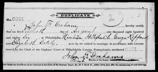 Philadelphia 1886 marriage license